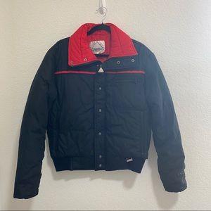 Snuggler Mens Vintage Black Ski Jacket w Red Inner Lining Size L